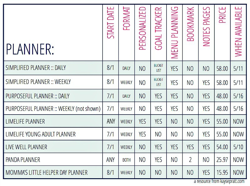 Planner Review At A Glance