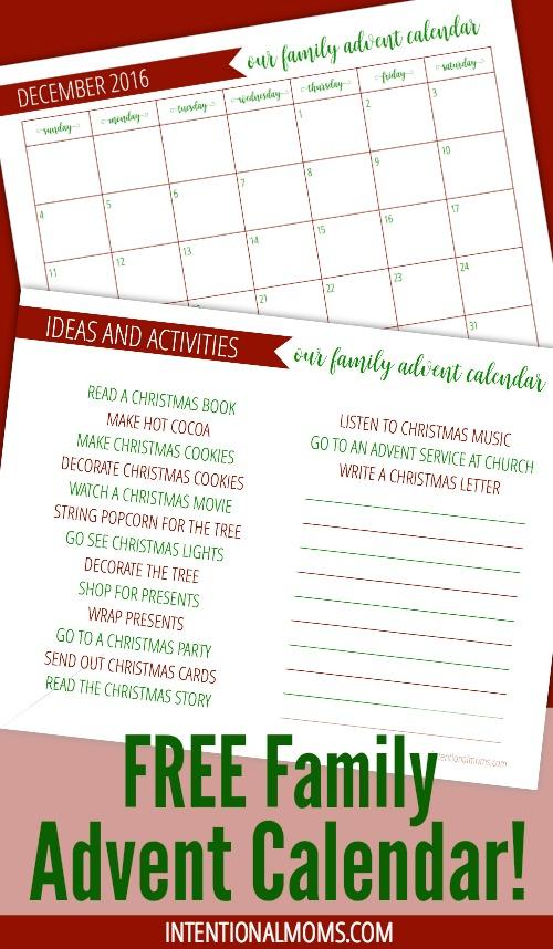 Family Advent Calendar - IntentionalMoms.com - Pinterest