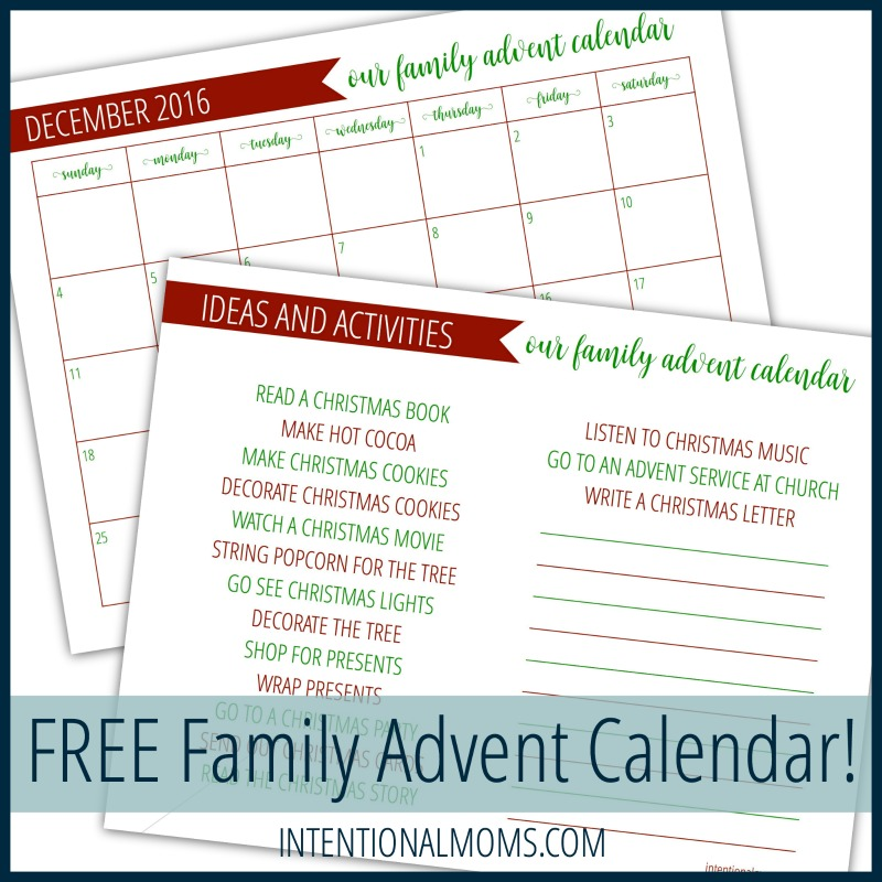 Family Advent Calendar - IntentionalMoms.com